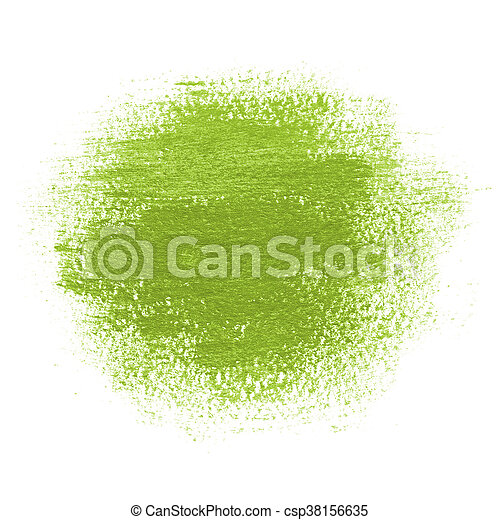 Green Paint Spot Drawn With Brush Stroke Round Paint Spot Drawn