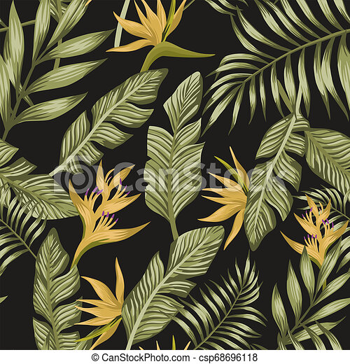 Green Palm Leaves Yellow Tropical Flowers Seamless Black Background Green Exotic Palm Banana Leaves Yellow Tropical Flowers Find the best free stock images about yellow background. can stock photo