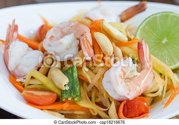 green papaya salad thai food - csp18216676