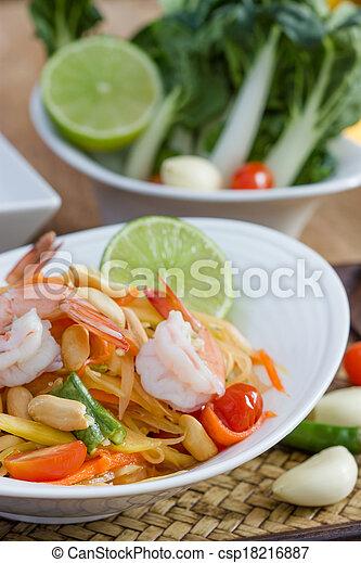 green papaya salad thai food - csp18216887