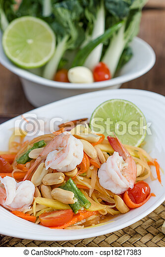 green papaya salad thai food - csp18217383