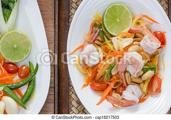 green papaya salad thai food - csp18217503