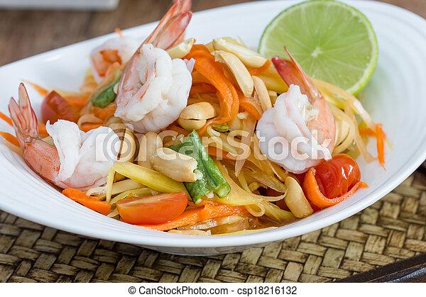 green papaya salad thai food - csp18216132