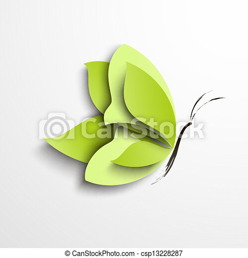 Green paper butterfly - csp13228287