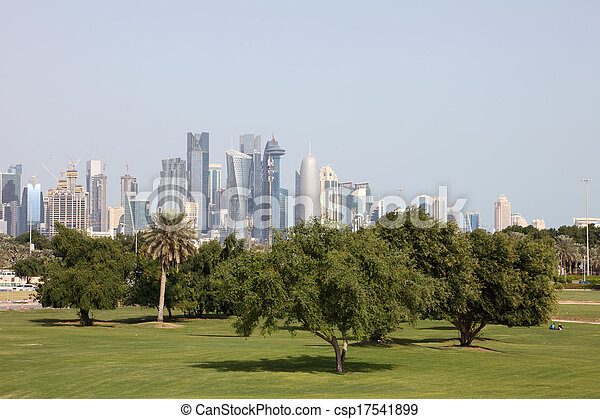 Green park in Doha, Qatar, Middle East - csp17541899