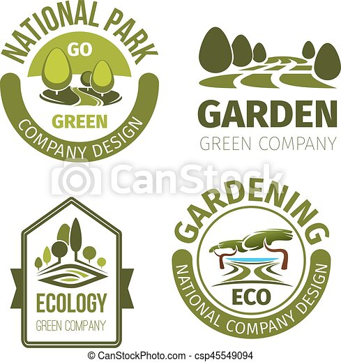 Green Park Or Garden Design Vector Icons Eco Park Or Green Garden