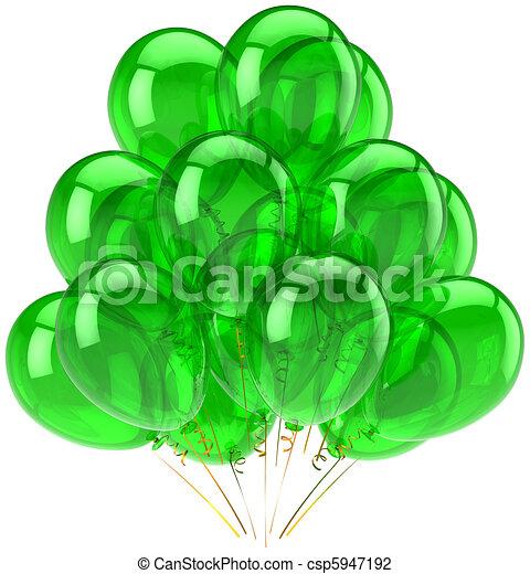 Green party balloons translucent - csp5947192