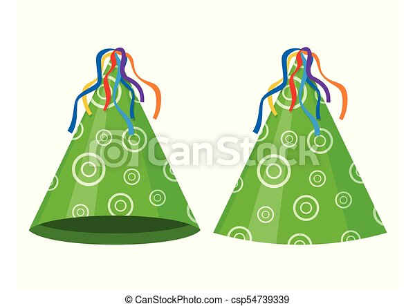 green party hat cone isolated on white background vectors rh canstockphoto com party hat vector transparent christmas party hat vector