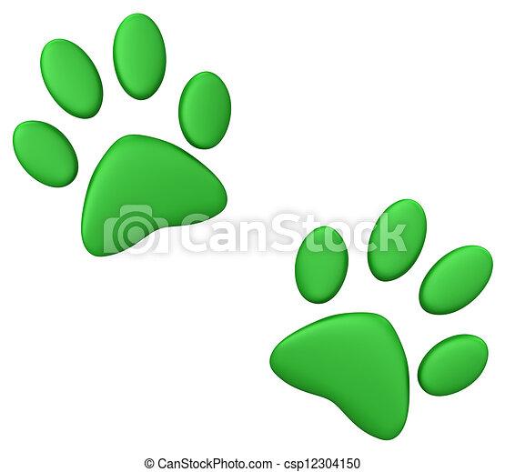 Green paw print - csp12304150