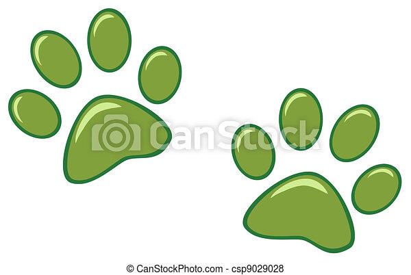 Green Paw Prints - csp9029028