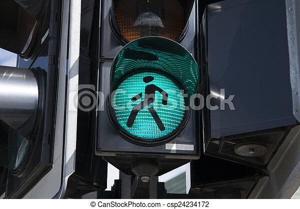 Green Pedestrian Traffic Light Sign - csp24234172