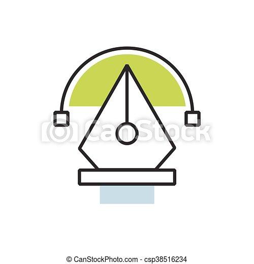 Green pen tool icon - csp38516234