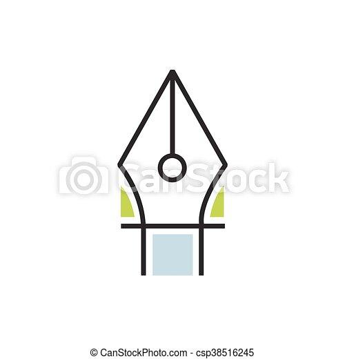Green pen tool icon line - csp38516245