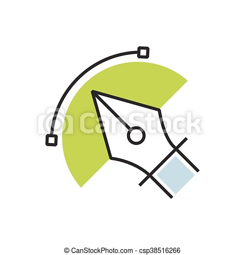 Green pen tool icon semicircle design - csp38516266