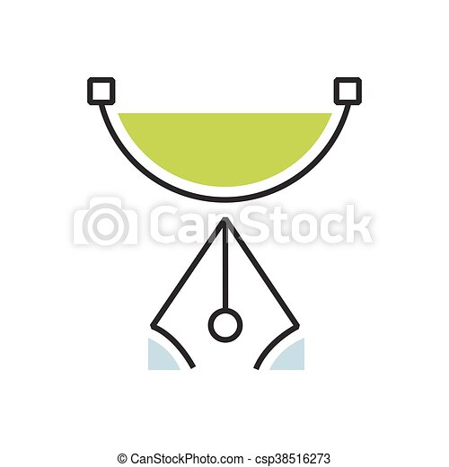 Green pen tool icon semicircle - csp38516273