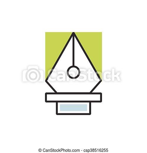 Green pen tool icon vector - csp38516255