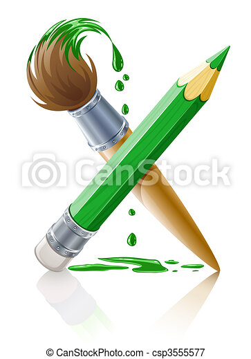 green pencil and brush with paint - csp3555577