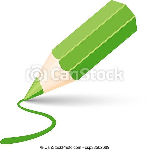 green pencil icon - csp33582689