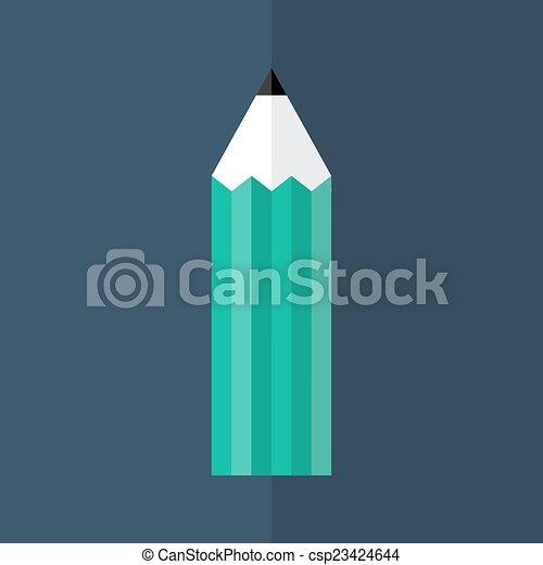 Green pencil icon over blue - csp23424644