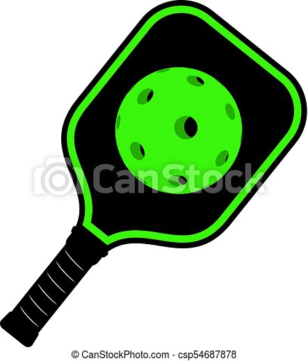 creative design of green pickleball racket icon vectors illustration rh canstockphoto com  pickleball clip art free