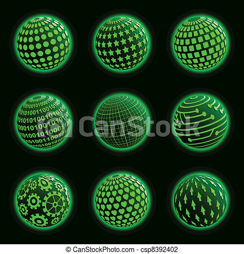 Green planet icons set.  - csp8392402