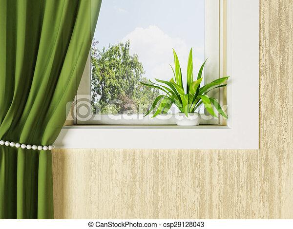 Delightful Green Plant On The Windowsill   Csp29128043