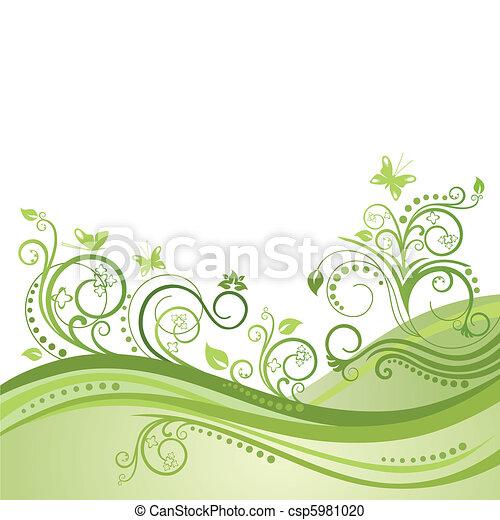 Green plants, flowers & butterflies - csp5981020