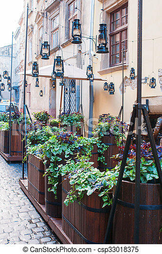 green plants outside in a cafe of Lviv - csp33018375
