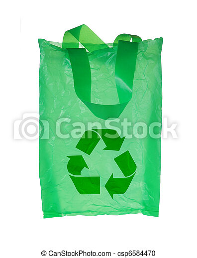 green plastic bag with recycle symbol - csp6584470