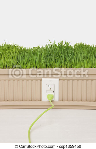 Green Plugged In Green Grass Growing From Planter Box With