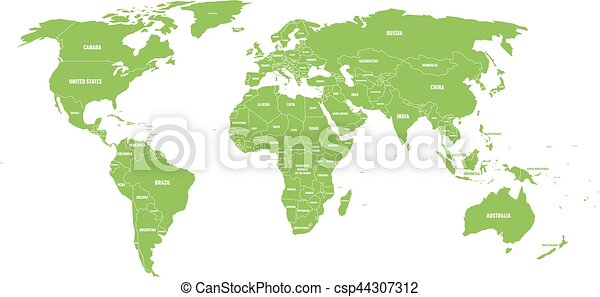 Green political world map with country borders and white vector green political world map with country borders and white state name labels hand drawn simplified gumiabroncs Choice Image