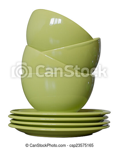 green porcelain bowls and plates is - csp23575165