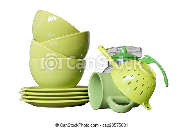 green porcelain dishes - csp23575001