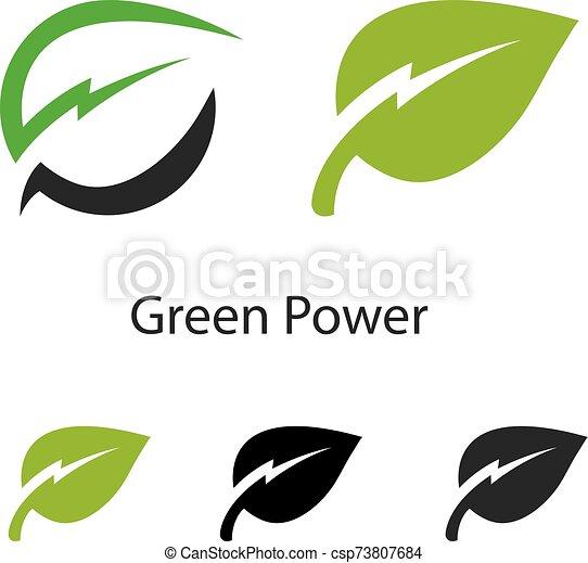 Green Power Energy Logo Design Element - csp73807684