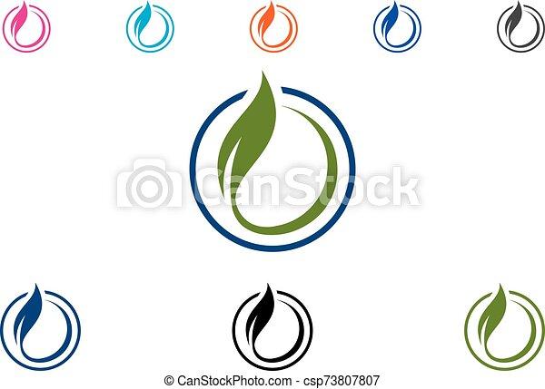 Green Power Energy Logo Design Element - csp73807807