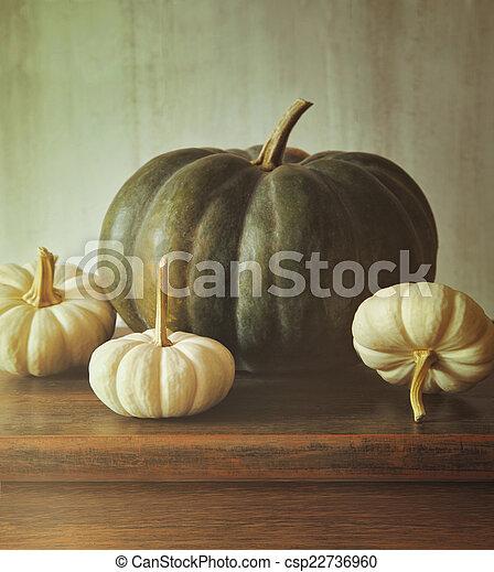 Green pumpkin and small white gourds - csp22736960