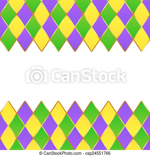 Green, purple, yellow grid mardi gras frame. Green, purple, yellow ...