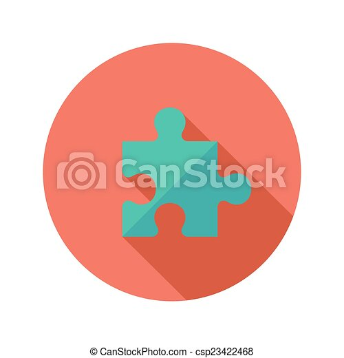 Green Puzzle Flat Icon over Red - csp23422468