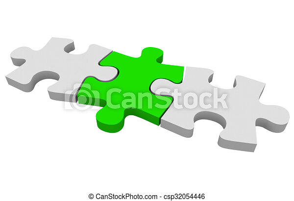 green puzzle piece three connected pieces solving problem connecting