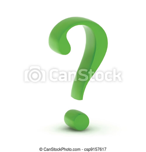 Green question mark isolated on white. Vector - csp9157617
