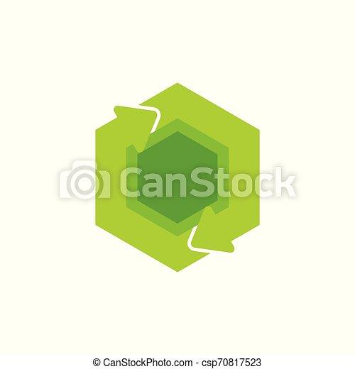 green recycle circle hexagonal arrow symbol logo vector - csp70817523