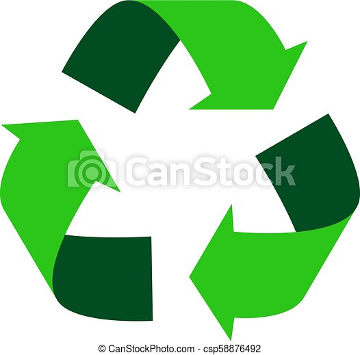 Green Recycle Logo Triangular Recycling Vector Symbol With Arrows