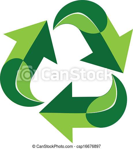 Green recycle logo symbol - csp16676897