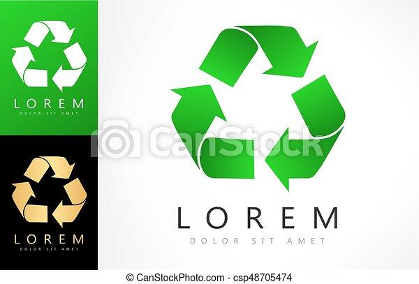 Green recycle logo vector design - csp48705474