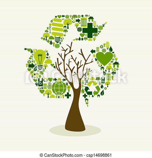 Green recycle symbol concept tree. Save the earth tree ...