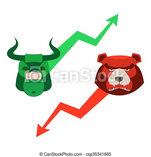 green red bull and bear traders at stock exchange business
