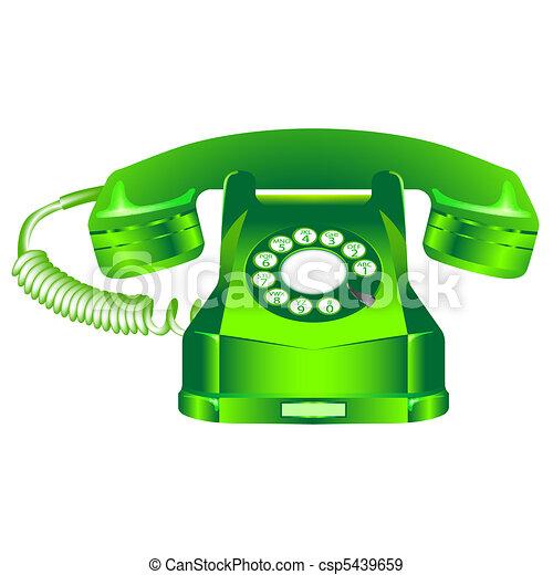 green retro telephone against white - csp5439659