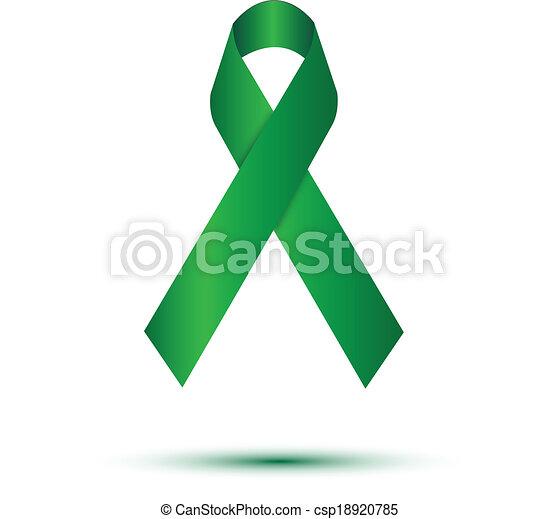 Green ribbon on white - csp18920785
