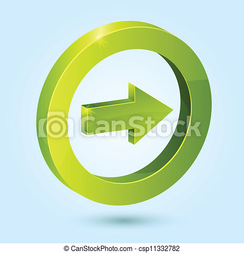 Green Right Arrow Symbol Isolated On Blue Background This Vector