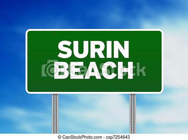 Green Road Sign - Surin Beach, Thailand - csp7254643